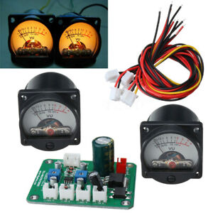 2x Panel Vu Meter Warm Back Light Recording Audio Level Amp With Driver Board