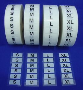 4 Rolls 2000 Wrap Around Clothing Size Labels Self adhesive Retail Supplies