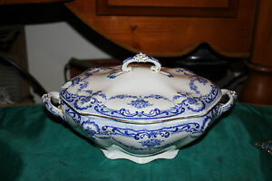Antique Rex Adderley England Lidded Tureen Casserole Dish Blue White