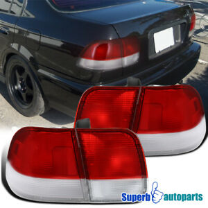 For 1996 1998 Honda Civic 4dr Sedan Tail Lights Depo Red Clear