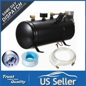 150 Psi Air Horn Compressor Tank Hose Kits Heavy Duty 12v Car Train Truck Black