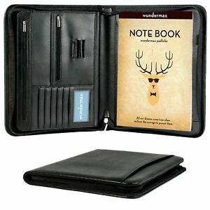 Padfolio Portfolio Organizer Leather Zippered Writing Pad Document Holder Case