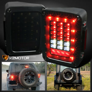 Smoke 07 17 Jeep Wrangler Smd Full Led Tail Lights Turn Signal Rear Brake Lamps