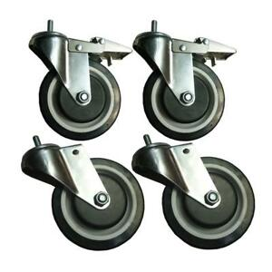Sandusky Industrial Caster 5 In Heavy Duty Rubber Wheels Brakes Safety 4 pack