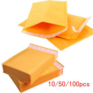 10 20 50 100pcs Kraft Bubble Mailers Padded Envelopes Yellow Paper Self Seal Bag