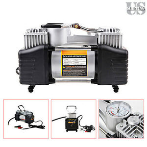 12v 150psi Double Cylinder Air Compressor Pump Electric Car Tire Inflator gauge