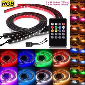 7 Color Rgb Led Strips Under Car Underglow Underbody Music Control Neon Lights