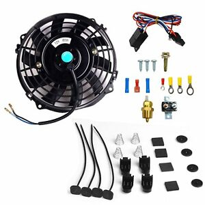 7 Electric Radiator Cooling Fan 3 8 Probe Ground Thermostat Switch Kit Bk