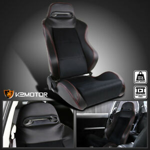 Passenger Side Leather Jdm Red Stitch Pvc Suede Recaro Style Racing Seat