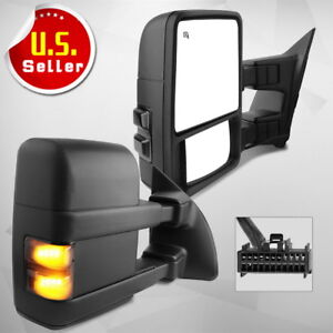 Pair For 2008 2016 Ford F250 F350 Superduty Power Heated Tow Mirrors Turn Signal