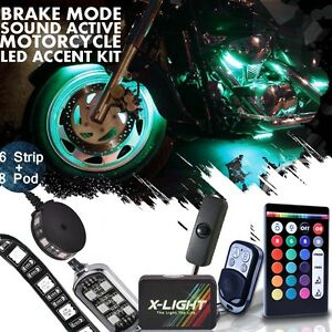 14pc 18 Color Motorcycle Led Flexible Strip Kit Neon Accent Glow Frame Music