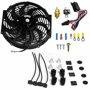 12 Electric Radiator Cooling Fan 3 8 Probe Ground Thermostat Switch Kit Bk