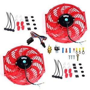 2x12 Electric Radiator Cooling Fan 3 8 Probe Ground Thermostat Switch Kit Red