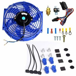 10 Electric Radiator Cooling Fan 3 8 Probe Ground Thermostat Switch Kit Blue