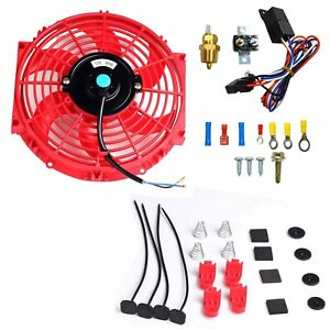 10 Electric Radiator Cooling Fan 3 8 Probe Ground Thermostat Switch Kit Red