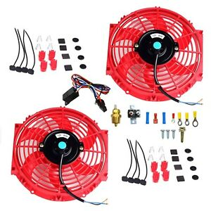 2x 10 Electric Radiator Cooling Fan 3 8 Probe Ground Thermostat Switch Kit Rd