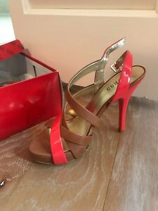 Guess High Heel Hot Pink And Ligh Brown New In Box Size 37