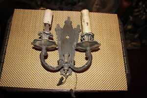 Antique Gothic Medieval Wall Sconce Double Arm Light Fixture Electric Metal