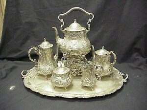 German Repousse 5pc 800 Silver Tea Set Sterling Silver Tray
