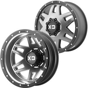 Set Of 6 Xd130 Machete Dually 20x8 25 8x170 Gray Wheels Rims Lugs Included
