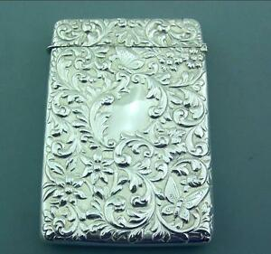 Excellent Victorian Solid Sterling Silver Card Case