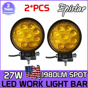 2x 27w Round Led Work Light Spot Fog Lamp Yellow Jeep Offroad Boat 5d Opticals