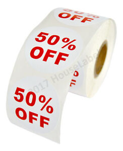 20 Rolls Of 50 Off Discount Labels 500 Labels roll 2 5 Diameter Bpa Free