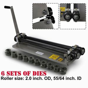 Sheet Metal Bead Roller Steel Gear Drive Bench Mount 18 gauge Capacity W 6 Die