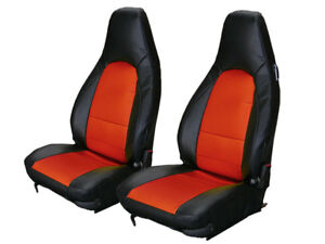 Porsche Boxster 1997 2004 Black red Vinyl Custom Made Fit Front Seat Covers