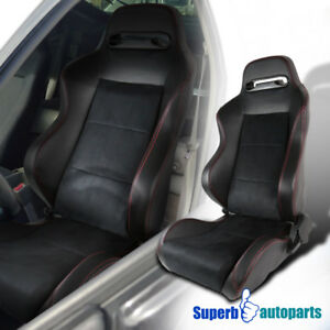 Sport Style Jdm Pvc Suede Leather Red Stitching Speed Racing Seat Driver Side
