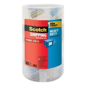 Heavy Duty Shipping Packaging Tape 4 Pack Scotch Solvent Free Instant Adhesion