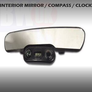 Car Large Rear View Mirror Clip On Interior W Clock Compass Thermometer Ac26