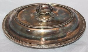 Vintage Silver Plate 1847 Rogers Bros 00708 Covered Oval Serving Tray Dish