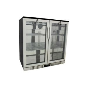 36 Wide 2 door Stainless Back Bar Beverage Cooler Refrigerator Beer Fridge