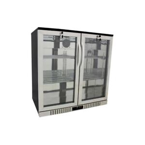 36 Wide 2 door Stainless Back Bar Beverage Cooler Counter Height Refrigerator
