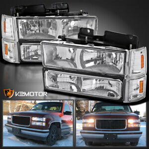 94 98 Gmc C k Sierra Suburban Chrome Headlights Bumper Corner Signal Lights 8pc