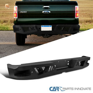 06 14 Ford F150 F 150 Truck Pickup Black Steel Rear Bumper Face Bar Guard Step