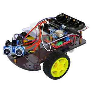 Black Blue Multi colored Ultrasonic Smart Wheel Robot Car Kits For Arduino