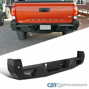 For 16 18 Toyota Tacoma Pickup Black Steel Rear Bumper Face Bar Guard Step Set