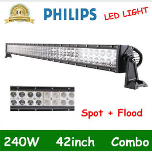 42inch 240w Philips Led Work Combo Flood Spot Light Bar Driving Atv 4wd Jeep 40