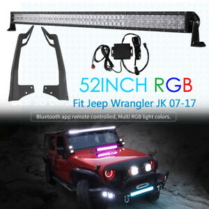 5d 52inch 1000w Cree Rgb Led Light Bar mount Brackets For Jeep Wrangler Jk 07 17