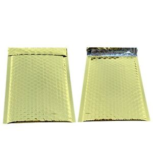 500 0 Glamor Metallic Gold Poly Bubble Mailers Envelopes Bags 6x10 Dvd Wide Cd