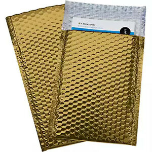 500 000 Glamor Metallic Gold Poly Bubble Mailers Envelopes Bags 4x8 Extra Wide
