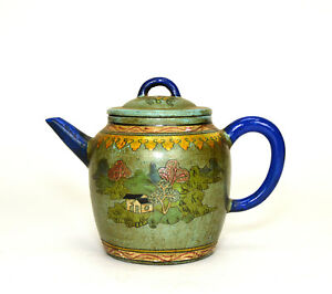Large Vintage Chinese Yixing Zisha Purple Clay Color Enamel Ceramic Teapot