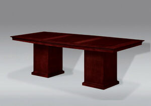 8 Foot Cherry Wood Modern Boat Shaped Conference Table With Square Pedestal Legs