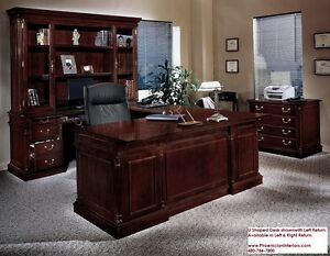 Executive U Shaped Desk With Hutch Set Cherry And Walnut Wood Office Furniture