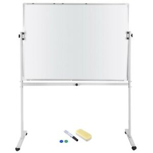 48 x36 Magnetic Writing Whiteboard Double Side Dry Erase W Adjust Mobile Stand