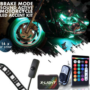 14pc Harley Street Glide Motorcycle Led Accent Glow Kit W Brake Light Function