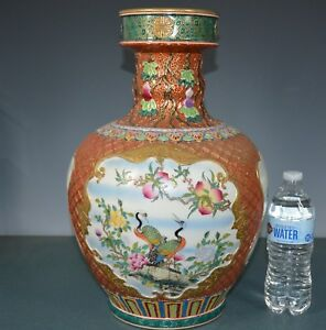 Magnificent Chinese Famille Rose Porcelain Vase Marked Qianlong Rare Tb7