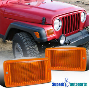 For 1997 2006 Jeep Wrangler Front Bumper Lights Signal Lamps Depo